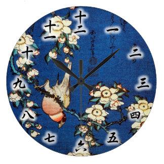 鳥と枝垂桜、北斎の鳥および泣く桜、Hokusai ラージ壁時計