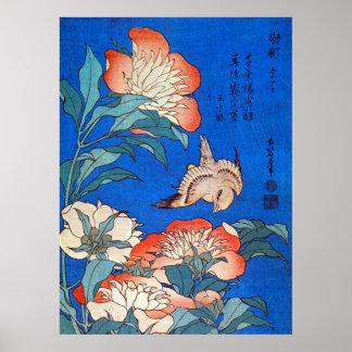 鳥と芍薬、北斎の鳥およびシャクヤク、Hokusaiの浮世絵 ポスター