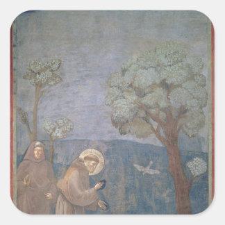 鳥に説教するSt Francis 1297-99年 スクエアシール