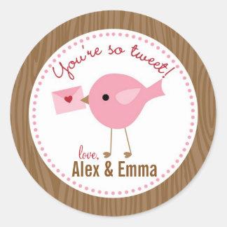 鳥のバレンタインのステッカー(ピンク) -あなたはそうさえずり ラウンドシール