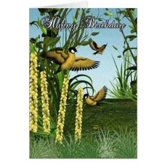 鳥のバースデー・カード-ズアオアトリのバースデー・カード- Bir カード