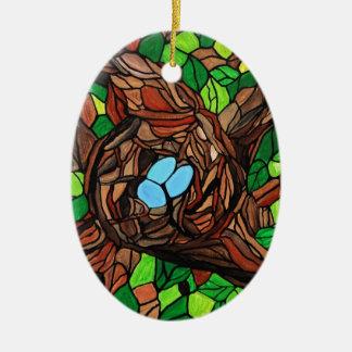 鳥のモザイク絵画は木で卵を投げつけます セラミックオーナメント