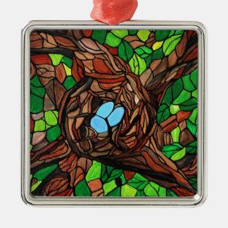 鳥のモザイク絵画は木で卵を投げつけます メタルオーナメント