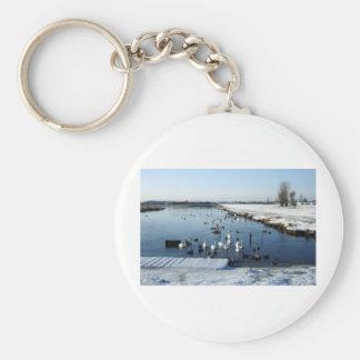 鳥の供給を用いる冬の船遊び湖場面 キーホルダー