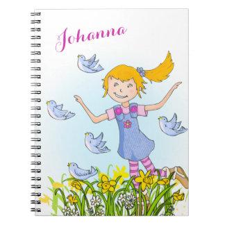 鳥の子供のノートを追跡している春の女の子 ノートブック