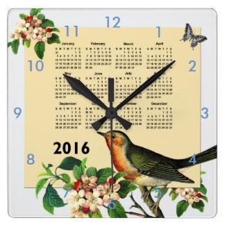 鳥の時計が付いているカレンダー2016年 スクエア壁時計