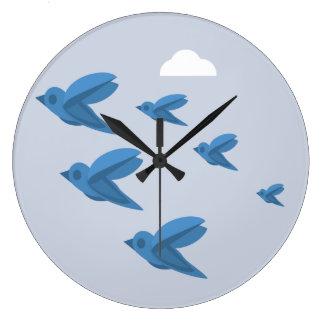 鳥の時計 ラージ壁時計