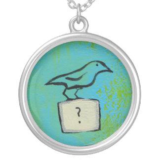 鳥の疑門符の多彩な芸術の看護兵の宇宙 シルバープレートネックレス