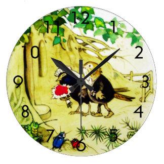 鳥の結婚式 ラージ壁時計