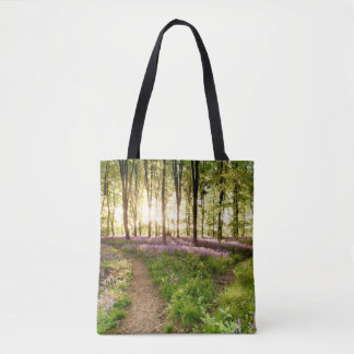 Bluebell woods with birds flocking