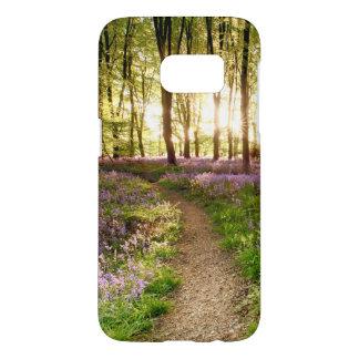 鳥の群がることを用いるBluebellの森 Samsung Galaxy S7 ケース