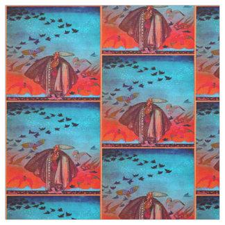 鳥の群が付いている岬の人 ファブリック