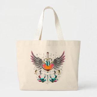 鳥の翼のハートの剣の入れ墨 ラージトートバッグ