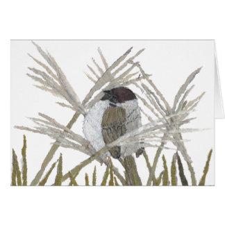 鳥の芸術、すずめ、冬 カード