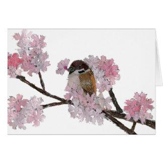 鳥の芸術、すずめ、桜 カード