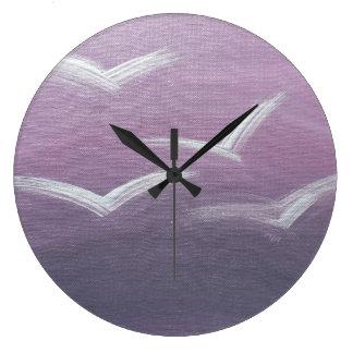 鳥の飛行中に柱時計 ラージ壁時計