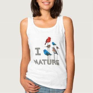 """鳥の""""私は自然""""のTシャツ愛します タンクトップ"""