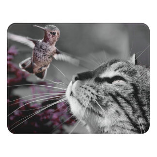 鳥を持つ猫 ドアサイン