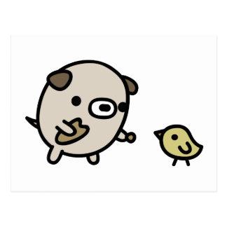 鳥を食べ物を与えている犬 ポストカード
