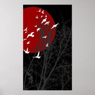 鳥をsilhouscreen ポスター