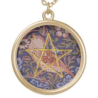 鳥ネックレスとの素朴な五芒星及び三重の螺線形 ゴールドプレートネックレス