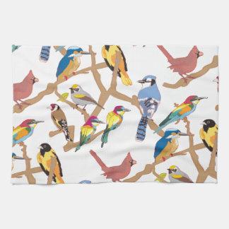 鳥パターンデザイン 台所タオル