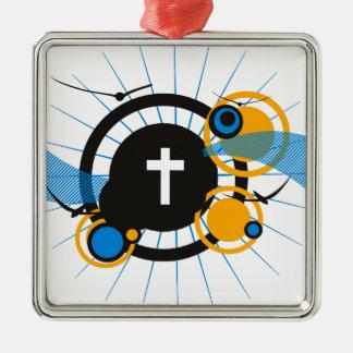 鳥及び十字の円のデザイン メタルオーナメント