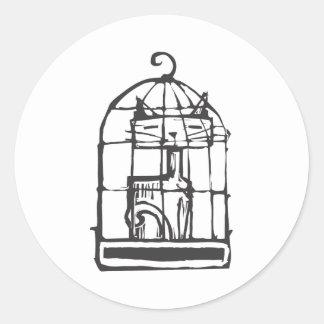 鳥籠の猫 ラウンドシール