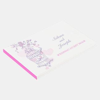 鳥籠の紫色/ピンクの結婚式の来客名簿 ゲストブック