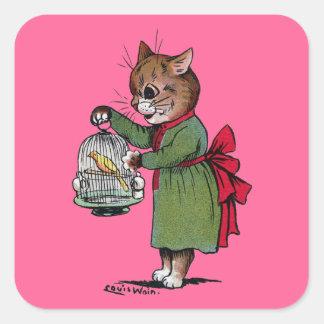 鳥籠を持つ猫、ルイWain スクエアシール