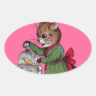 鳥籠を持つ猫、ルイWain 楕円形シール
