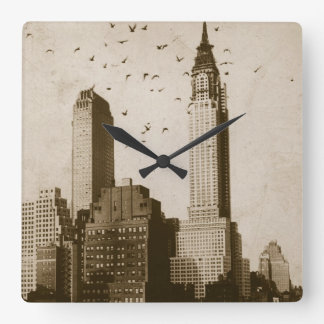 鳥飛行の群 スクエア壁時計
