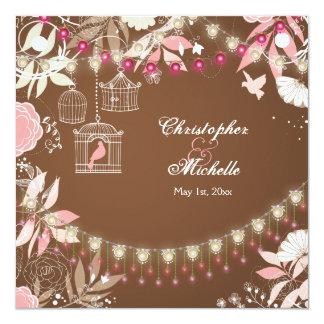 鳥、おり、花園のピンクおよびブラウンの結婚式 カード