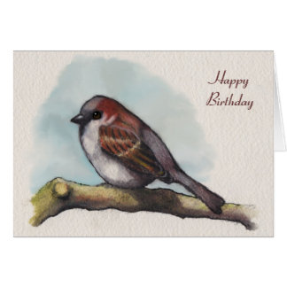 鳥、すずめ: 水彩画の絵画、誕生日 カード