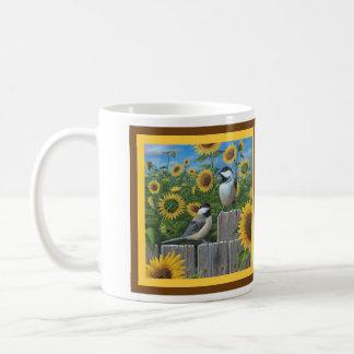 《鳥》アメリカゴガラおよびヒマワリ コーヒーマグカップ