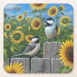 《鳥》アメリカゴガラおよびヒマワリ スクエアペーパーコースター