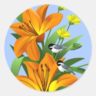 《鳥》アメリカゴガラおよび花のステッカー ラウンドシール