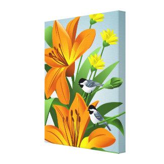 《鳥》アメリカゴガラおよび花の芸術 キャンバスプリント