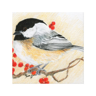 《鳥》アメリカゴガラおよび赤い果実 キャンバスプリント