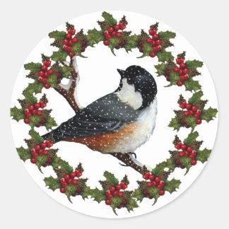 《鳥》アメリカゴガラが付いているクリスマスのリース: 元の芸術 ラウンドシール