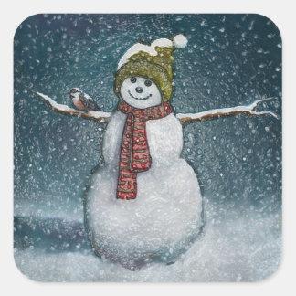 《鳥》アメリカゴガラが付いている雪だるま: 冬場面 スクエアシール