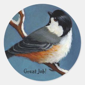 《鳥》アメリカゴガラのよい仕事のステッカー ラウンドシール