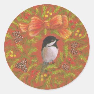 《鳥》アメリカゴガラのクリスマスのステッカー ラウンドシール
