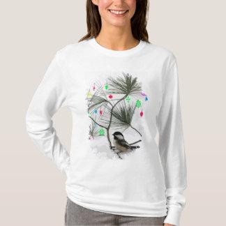 《鳥》アメリカゴガラのクリスマスツリー Tシャツ
