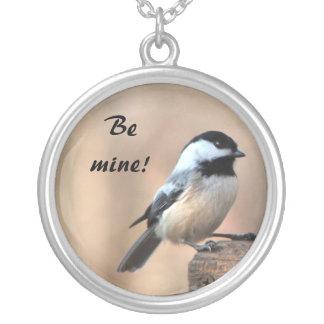 《鳥》アメリカゴガラのバレンタイン シルバープレートネックレス