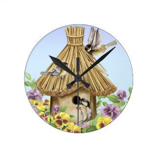 《鳥》アメリカゴガラの巣箱 ラウンド壁時計