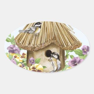 《鳥》アメリカゴガラの巣箱 楕円形シール