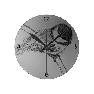 《鳥》アメリカゴガラの柱時計 ラウンド壁時計