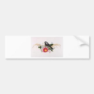 《鳥》アメリカゴガラの花柄 バンパーステッカー