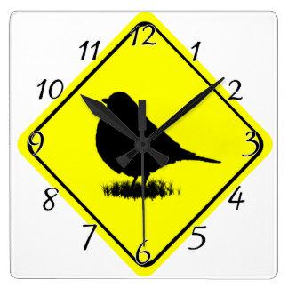 《鳥》アメリカゴガラの警告標識愛野鳥観察 スクエア壁時計